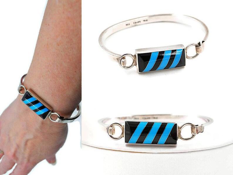 Diagonal Lines Mexico  #c359 Vintage Taxco Sterling Silver Blue /& Black Enamel Inlay Hook Bangle Bracelet