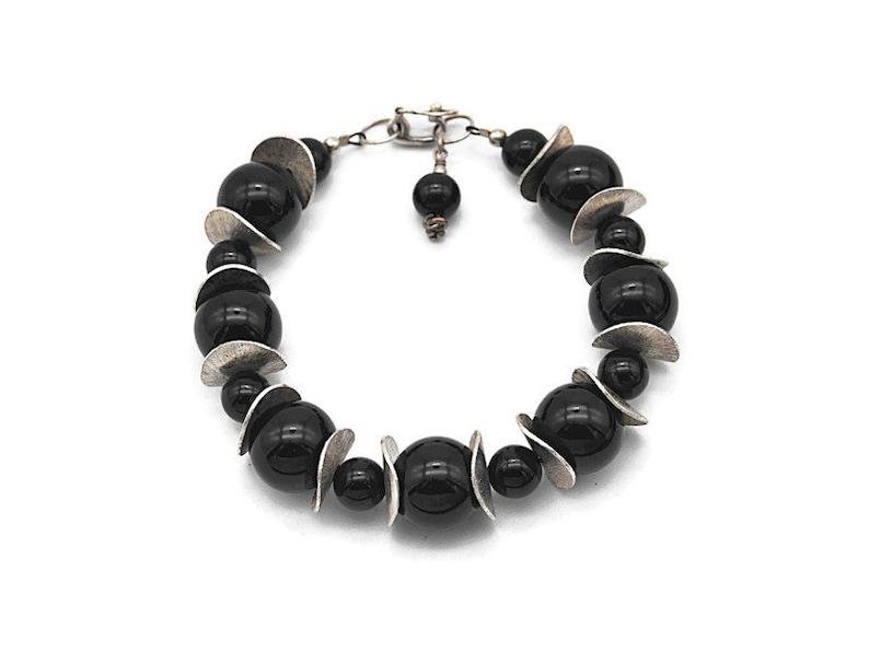 Vintage Artisan Sterling Silver Modernist #d157 Bold Black Onyx Bead and Wavy Disc Bracelet