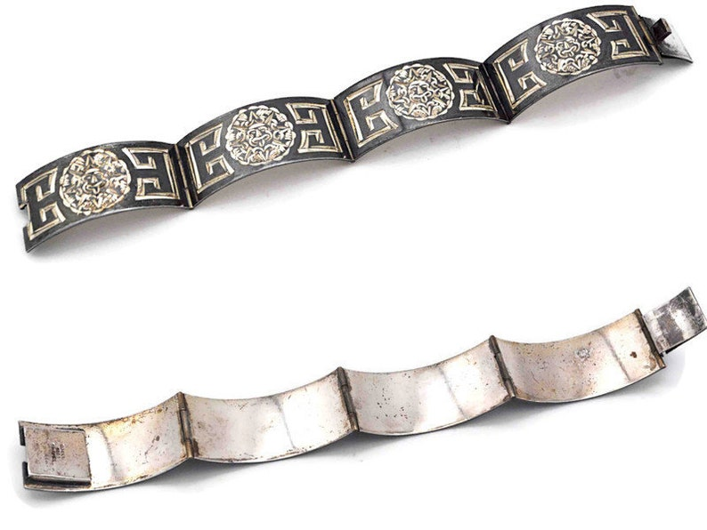 Vintage Mexico Sterling Silver Mayan Sun God Hinged Panel Link Bracelet Black Niello 7 12 Inches #d297 Geometric