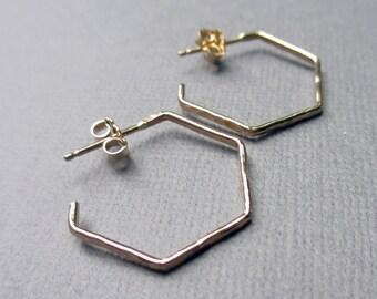 Gold Hexagon Hoop Earrings   Gold Fill Hexagon Post Earrings   Minimalist Jewelry   Skinny Hammered Hoop Earrings   Everyday Simple Hoops
