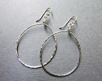 Large Silver Hoop Earrings   Hammered Hoop Earrings   Simple Dangle Hoop Earrings   Argentium Sterling Silver   Modern Jewelrry   Minimalist
