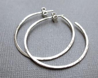 Sterling Silver Post Hoop Earrings   Silver Hoop Earrings   1.25 inch Hammered Hoops   Argentium Silver    Classic Everyday Jewelry