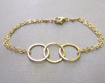 Gold fill 3 Circle Bracelet   14K Yellow Gold Fill    Gold Interlocking Circles Bracelet   Gold Ring Bracelet   Gift for BFF, Sisters or Mom