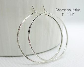 Sterling Silver Hoop Earrings   Silver Hoop Earrings   Hammered Hoops   Dainty   Simple Plain Thin Hoops   Size Small Medium   Argentium