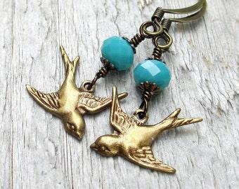 Brass Bird Earrings, Bronze Bird Earrings, Bird Charm Earrings, Vintage Style Jewelry, Blue Bead Earrings, Gift for Bird Lover
