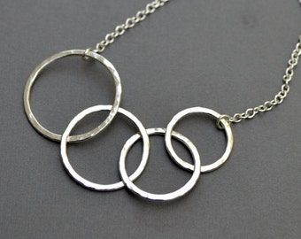 4 Circle Silver Necklace -  Argentium Sterling Silver Necklace Hammered Link Circles Chain Gift for Mom Modern Classic