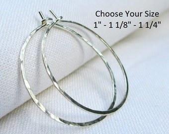 Sterling Silver Hoop Earrings, Silver Hoop Earrings, Hammered Hoops, Dainty, Simple, Argentium, Plain Hoop, Choose Your Size, Small Medium