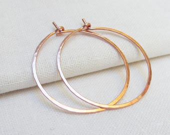 Rose Gold Hoop Earrings, 14KT Rose Gold Fill Hoops, .75 to 1.25 inch, Gold Hoops, Simple Gold Fill Hoops, Skinny, Lightweight Hoops, Skinny