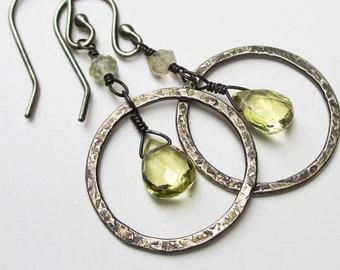 Lemon Quartz Earrings, Gemstone Dangle Hoop Earrings, Sterling Silver Hoops, Gemstone Jewelry, Halo Earrings, Yellow Stone Earrings Under 50