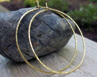 2 inch, Gold Fill Hoops, Gold Hammered Hoop Earrings, Large Gold Hoops, Classic Hoops, Modern Jewelry, Skinny Hoops, Boho, 2 inch diameter
