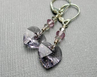Crystal Heart Earrings, Smoky Mauve, Gray Pink Crystal Heart Earrings, Swarovski Jewelry, Sterling Silver Earrings, Valentines Day Gift Copy