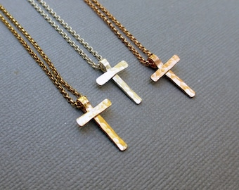 Small Hammered Cross Necklace, Sterling Silver, Gold Fill, Rose Gold Fill Religious Jewelry, Crucifix, Baptism Gift, Silver or Gold Cross