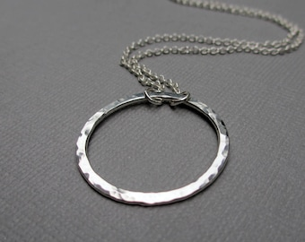 Silver Circle Necklace, Hammered Circle Necklace, Argentium Sterling Silver, Eternity Necklace, 1 inch circle pendant, Minimalist, Modern