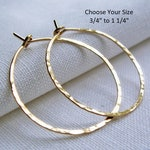 Gold fill Hoop Earrings, Gold Hoop Earrings, .75 to 1.25 inch, Thin Hammered Hoops, Dainty, Simple Classic Plain Hoops, 14/20 Gold Fill