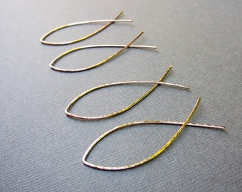 """2"""" Cross Over Hoop Earrings   Choice of Sterling Silver, Gold or Rose Gold Fill,   Open Threader Hoops   Lightweight Minimalist Hoops"""