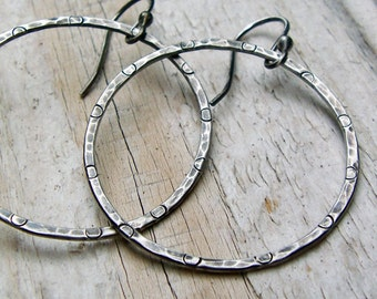 Sterling Silver Hammered Hoop Earrings, Oxidized Silver Hoops, Hammered Silver Gray Earrings, Antiqued Silver Jewelry, Gift for Her Under 40