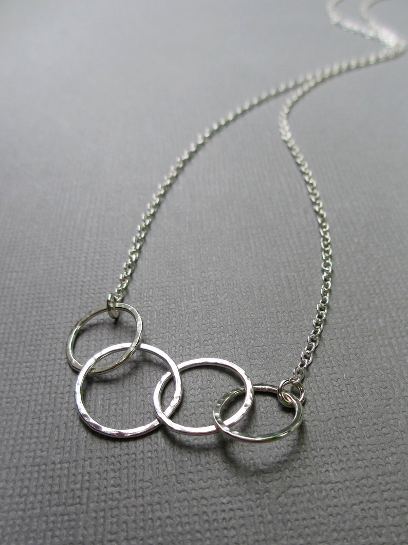 Small 4 Circle Necklace  Sterling Silver  Interlocking Ring image 0