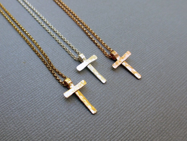 Small Hammered Cross Necklace Sterling Silver Gold Fill image 0