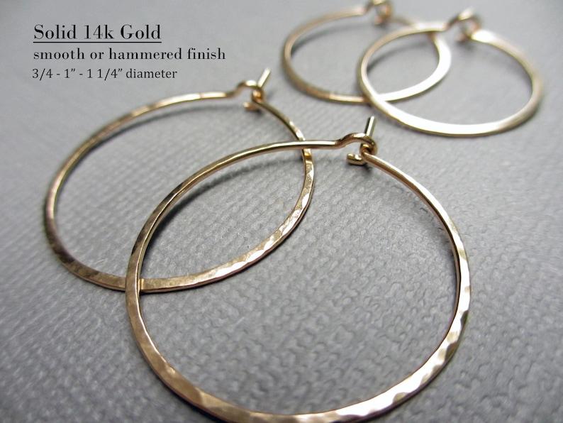 Solid Gold Hoop Earrings 14K  Thin Gold Hoops  Hammered Hoop image 0