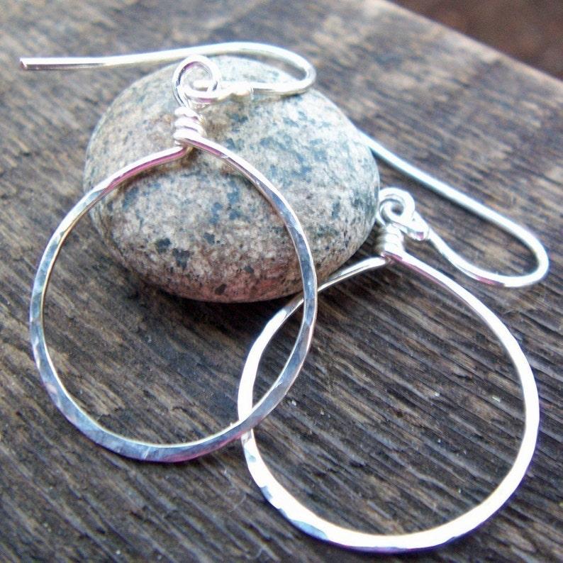 Boho Silver Dangle Hoop Earrings Medium hoops Argentium sterling silver Teardrop earrings Hammered Teardrop Earrings Modern Hoops