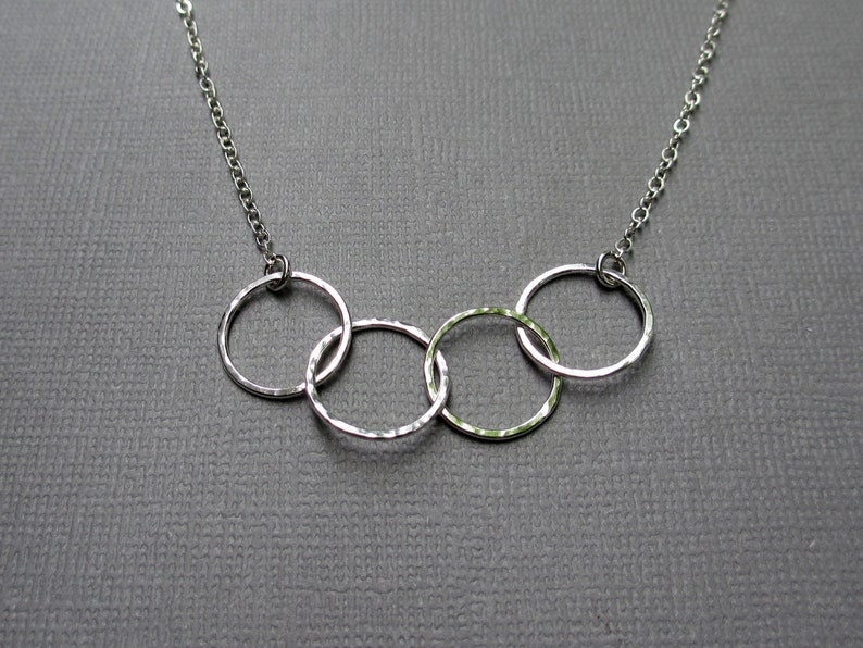 Dainty 4 Circle Necklace  Sterling Silver  4 Ring Layering image 0