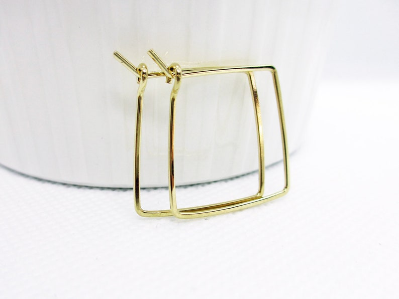 Small Gold Square Hoop Earrings  Gold Fill Hoop Earrings  image 0