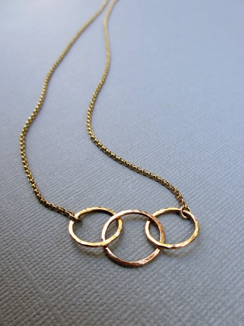 Small Gold Circle Necklace  Dainty Circle Necklace  14K image 0