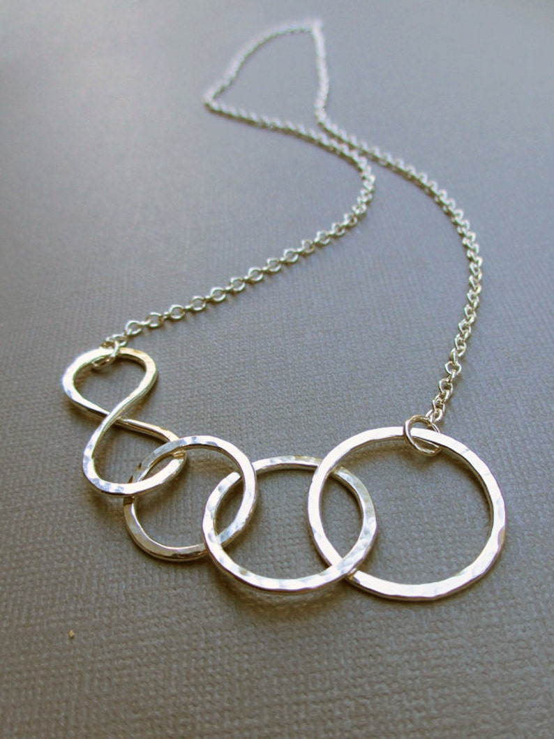 Circle Necklace Sterling Silver Statement Family image 0