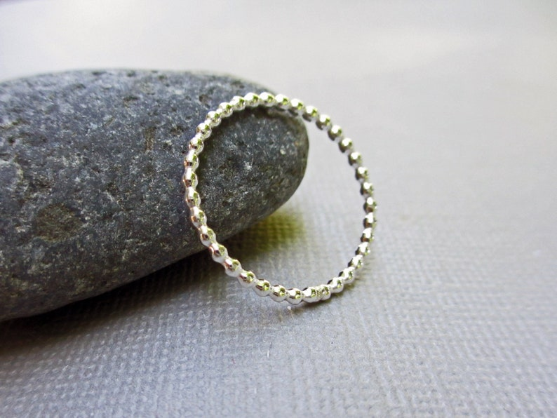 Skinny Sterling Silver Beaded Ring  Silver Stacking Ring  image 0