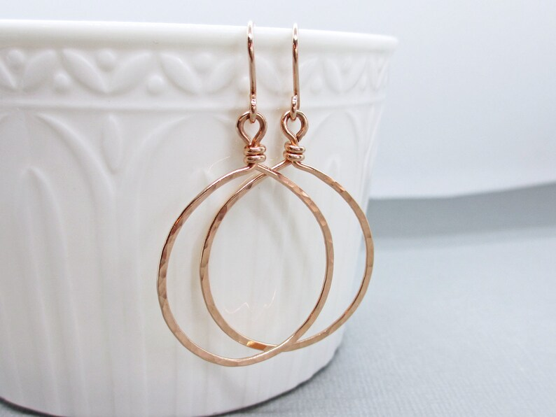 Rose Gold Teardrop Hoop Earrings  Pink Gold Fill Hoops  image 0