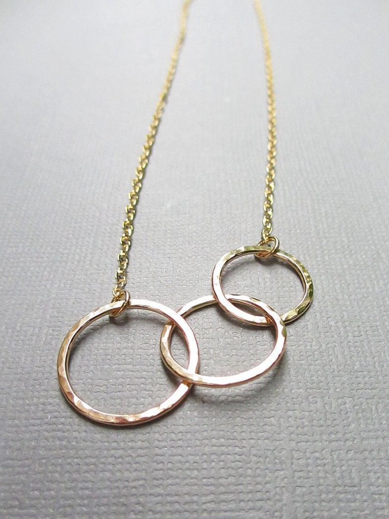 3 Circle Gold Necklace  Circle Necklace  Interlocking image 0