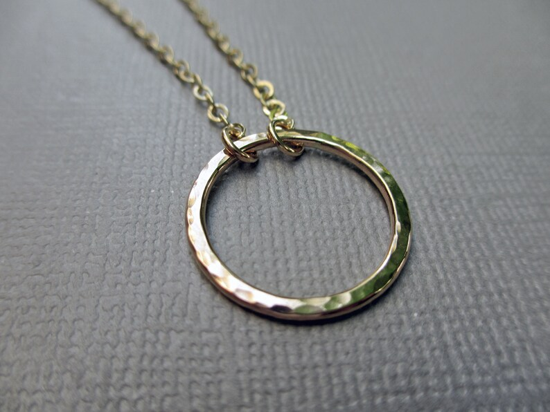 Gold Circle Necklace  14KT Gold Fill  Hammered Ring Pendant image 0
