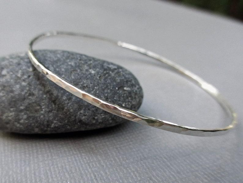 Hammered Silver Bangle Bracelet  Solid Sterling Silver  image 0