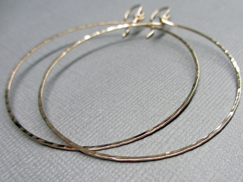 2 inch Gold Hoop Dangle Earrings  14K Gold Fill Hoop Earrings image 0