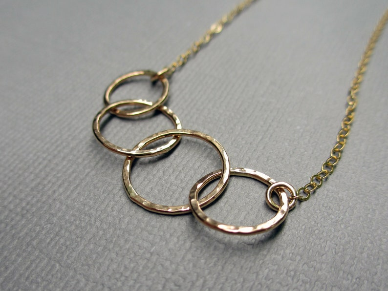 Gold 4 Circle Necklace  Dainty Circle Necklace  14K Yellow image 0