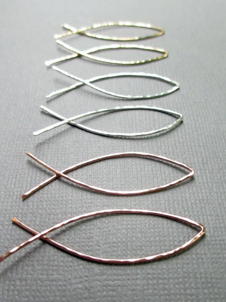 Cross Over Hoop Earrings  Fish Threader Hoops  Sterling image 0