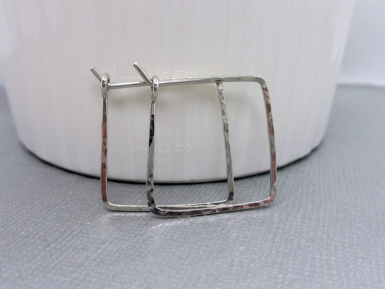 Small Silver Square Hoop Earrings  Sterling Silver  .75 inch image 0