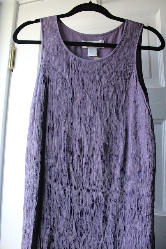 1990 silk crinkle dress / 90s lilac silk dress / s