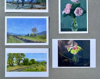 Set of Five Postcards - Painted Landscapes and Florals