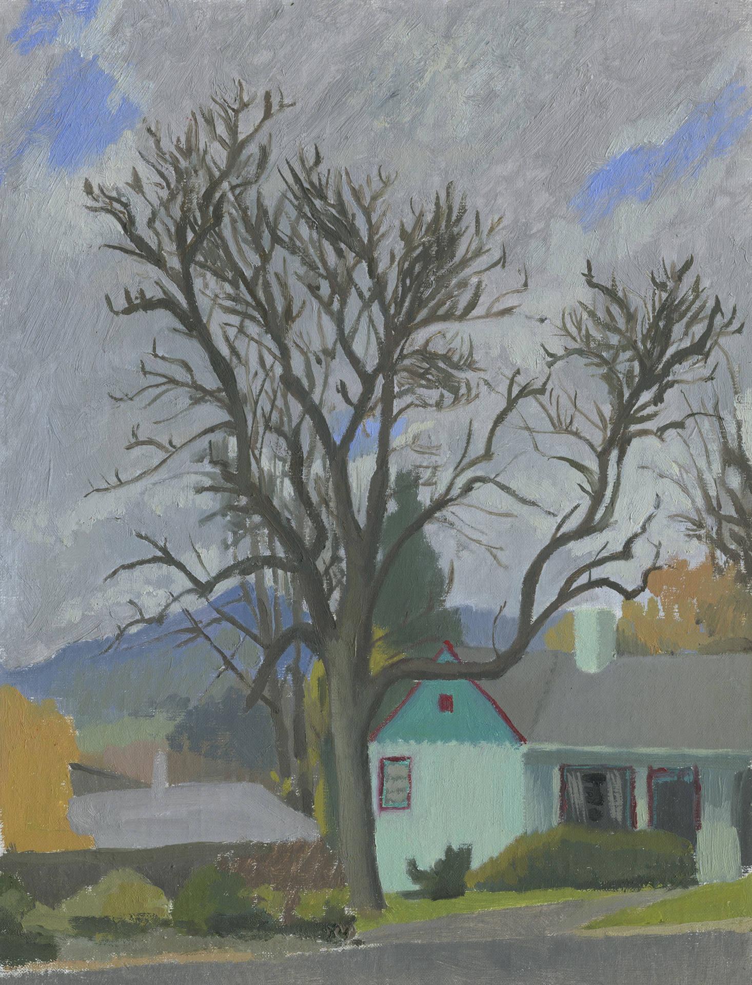 arbre hiver voisin paysage de plein air original peinture. Black Bedroom Furniture Sets. Home Design Ideas