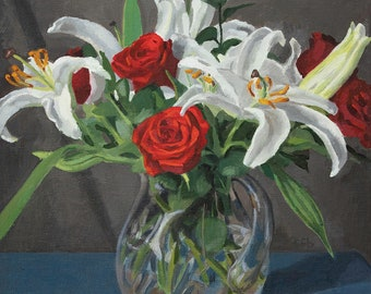 Original Oil Painting: Roses and Lilies