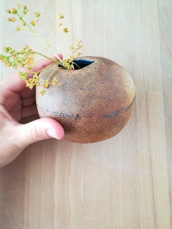 Zen Stone Short Bud Vase Big Sur Sand Inlays Blue And Brown Etsy