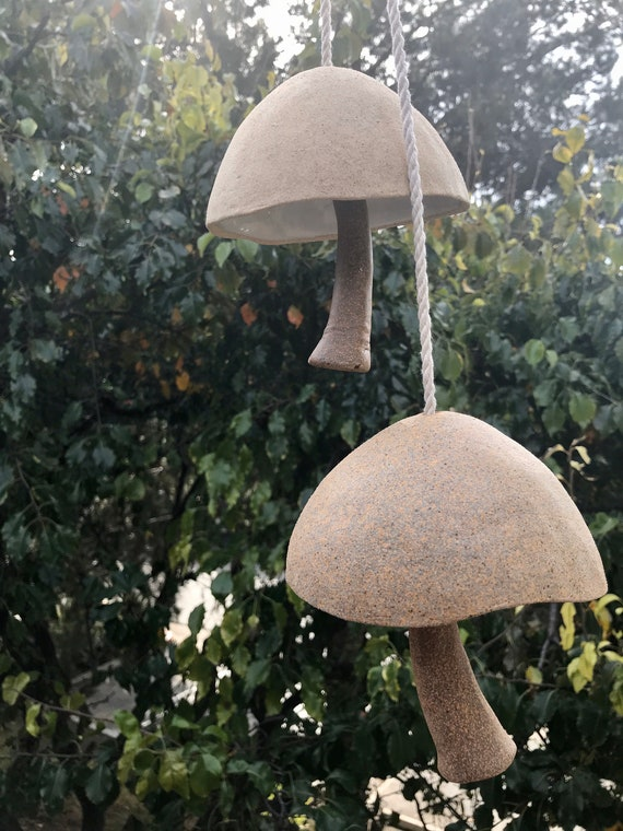Amanit\u0430 Garden Bell Handmade home decor Ceramic blue mushroom Ceramic Wind Chimes