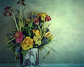still life photography fine art photography flowers spring bouquet blue aqua turquoise home decor