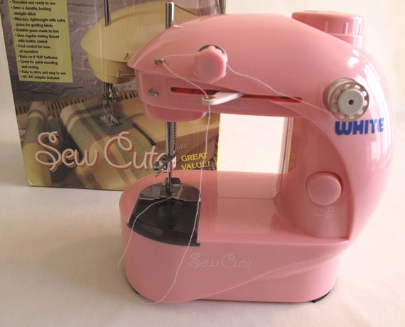 White Sew Cute Personal Sewing Machine Pink Battery ACDC Etsy Gorgeous Sewing Machine Box