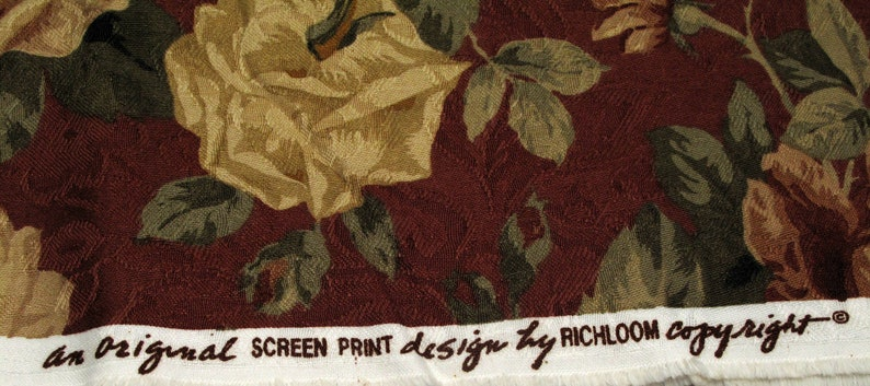 Vintage Floral Rose Fabric Flowers Romantic Shabby  Upholstery Cottage Chic Farmhouse Rust Beige Olive Richloom