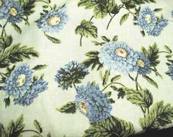 """Vintage Blue Mum Chrysanthemum Floral Fabric 6 Yards 54"""" Wide  Shabby Cottage Chic Farmhouse French Country Covington 5TH Avenue Designs"""