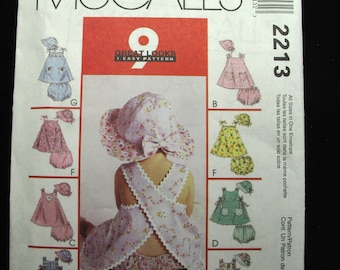 McCalls Infant Baby Dress Panties Hat Pattern Uncut Sewing Sweet Summer All Sizes Included 9 Great Looks