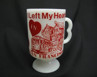Vintage I Left My Heart In San Francisco Coffee Mug Tea Cup Souvenir Romantic Shabby Cottage Chic Retro