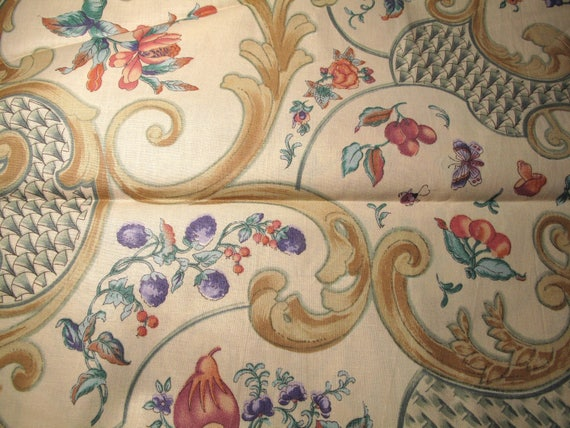 Vintage 1990 Anna Rubens Design Interior Fabric 5 Yards 52 Wide Pink Lavender Green Floral Butterfly Gold Shabby Romantic Chic Cottage
